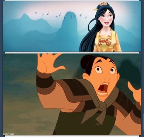 princesas de disney fondo de pantalla containing anime entitled Mulan's response to her new look