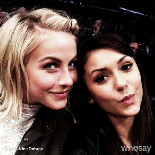 Nina Dobrev and Julianne Hough at Lakers Game 2013/03/17