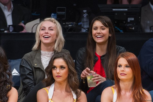 Nina Dobrev and Julianne Hough at Lakers Game 2013/03/17