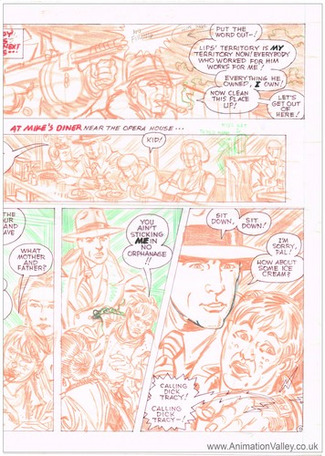 Original Dick Tracy comic page hand drawn