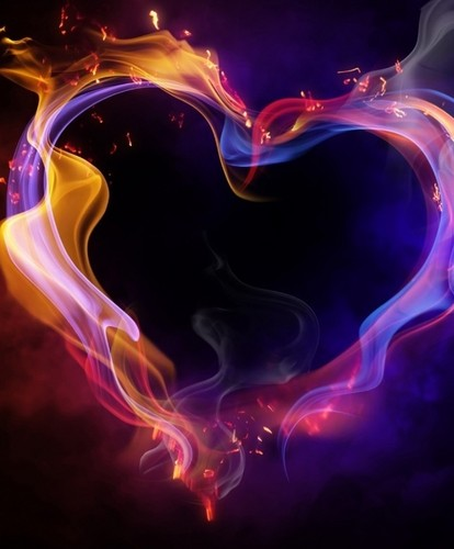 arco iris, arco-íris fogo coração