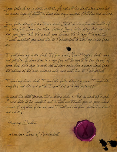Ramsay Bolton's letter