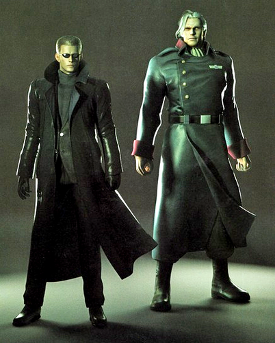 Resident Evil Hintergrund possibly with a full dress uniform titled Albert Wesker and Sergei Vladimir