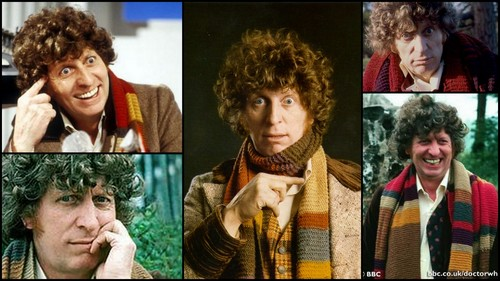 Doctor Who karatasi la kupamba ukuta possibly with a portrait entitled Tom Baker, the Fourth Doctor
