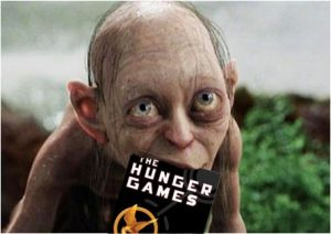 Pitch Perfect karatasi la kupamba ukuta with a portrait titled gollum eating hunger games