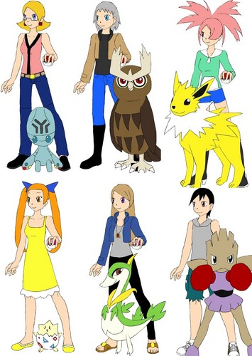 Abigail, Dayton, Lucy, Maylene, Yasmin and Cyrus as Pokemon Trainers