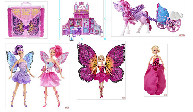 Barbie Mariposa and the Fairy Princess dolls and stuff