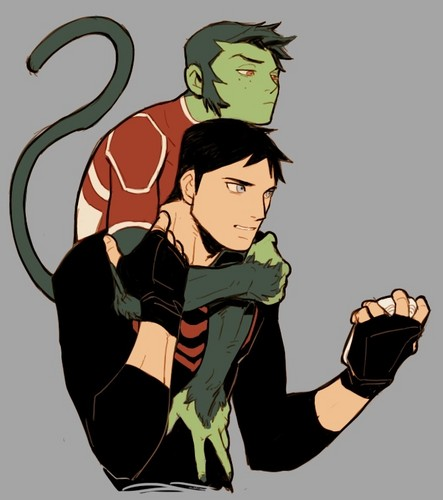 영 저스티스 바탕화면 containing 아니메 called Beast Boy and Superboy