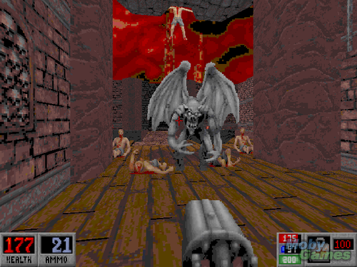 Video Games achtergrond with a fontein entitled Blood (DOS game) screenshot