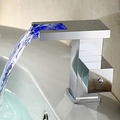 Contemporary Color Changing LED Bathroom Sink Faucet (Waterfall)