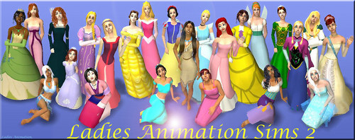 Disney Extended Princess karatasi la kupamba ukuta called Disney Princess and Non Disney Sims 2