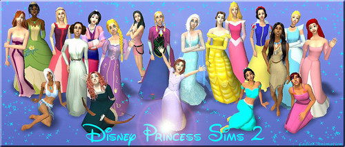 Disney Extended Princess karatasi la kupamba ukuta titled Disney Princess and Non Disney Sims 2
