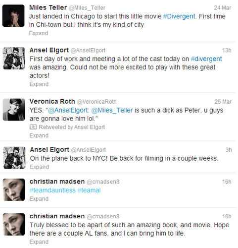 Divergent cast and Veronica Roth tweet about filming!