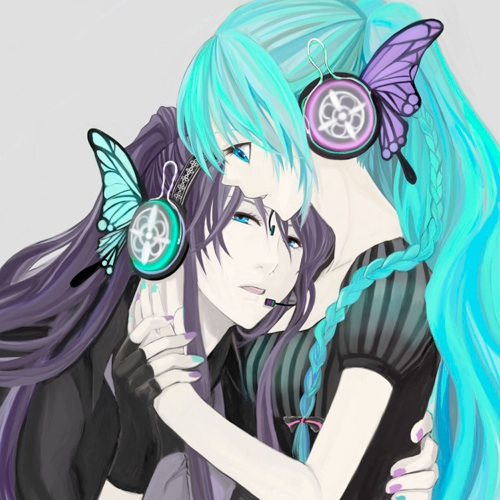 Vocaloids wallpaper possibly with anime entitled Gakupo and Miku