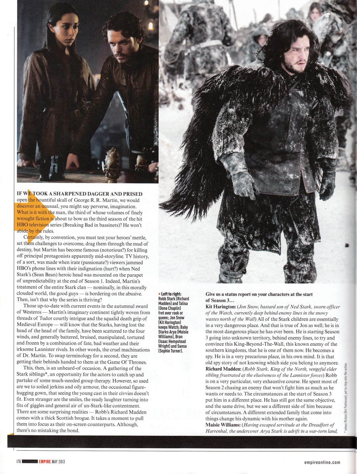 Game of Thrones interview with the Starks