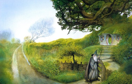 J.R.R. Tolkien wallpaper possibly with a lippizan, a horse trail, and a bridle path titled John Howe`s illustration
