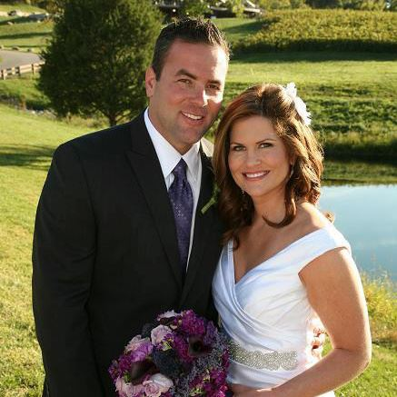 Kristen Cornett with husband Steve Knapp on their wedding day