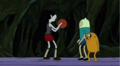 Marceline plays Basketball with Finn, Jake and Simon