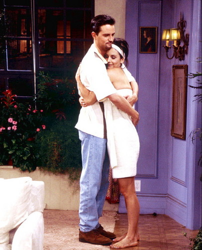 Monica and Chandler wallpaper probably with a well dressed person, a bathrobe, and an outerwear titled Mondler Forever GIFs <3