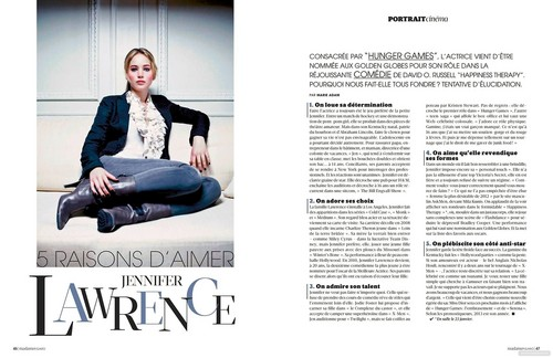 New scans of Jennifer Lawrence in Madame Figaro and L'Express Styles (France) in January 2011