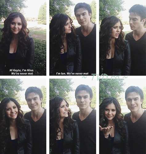 Ian Somerhalder and Nina Dobrev wallpaper titled Nina and Ian -doing a video for a fan ♥