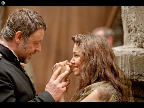 Russel Crowe and Sam Barks on set Les Mis