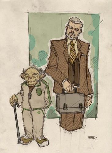 ster WARS 80s High School Professors Yoda and Kenobi