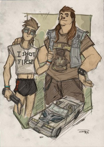 étoile, star WARS 80s High School Re-Design Han and Chewbacca
