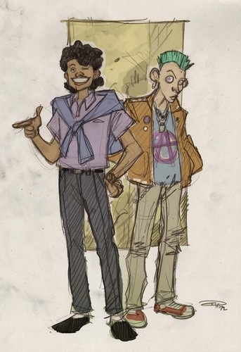 звезда WARS 80s High School Re-Design Lando and Greedo