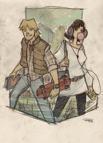 STAR WARS 80s High School Re-Design Luke and Leia