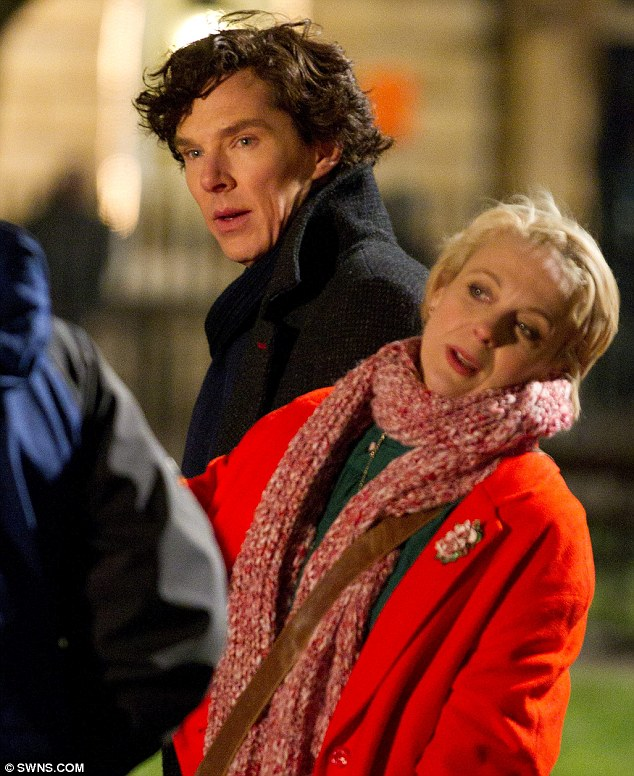 Sherlock Filming - Benedict and Amanda Abbington