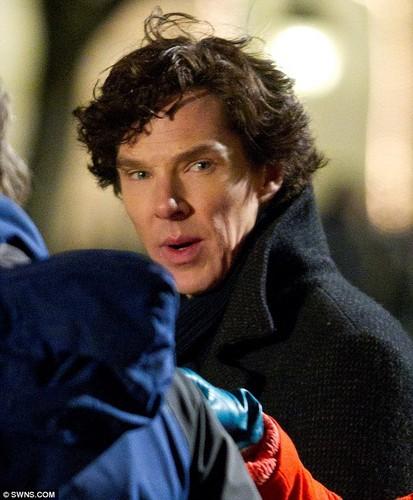 Sherlock Filming - Benedict and Amanda Abbington