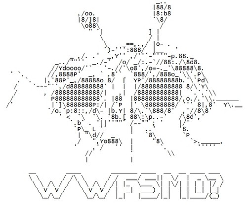 Spaghetti Monster from http://dan551x.deviantart.com/art/Flying-Spaghetti-Monster-ASCII-116884357