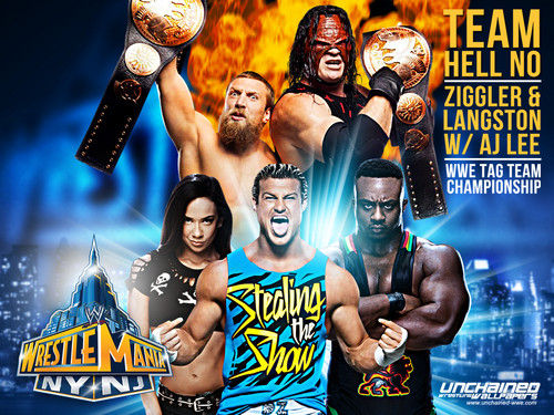 Team Hell No vs Dolph Ziggler and Big E Langston w/AJ Lee - Wrestlemania 29