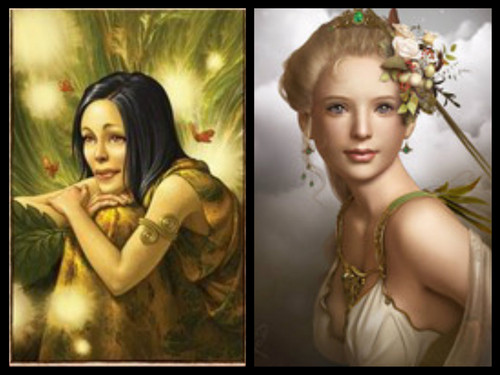 The Garden Girls. Goddess of Flowers. Mother and Daughter.