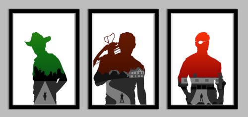 Walking Dead fond d'écran entitled The Walking Dead Silhouette Poster Set