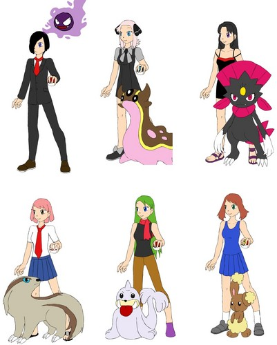 Vincent, Amy, Hazel, Angie, Mia and Lauren as Pokemon Trainers