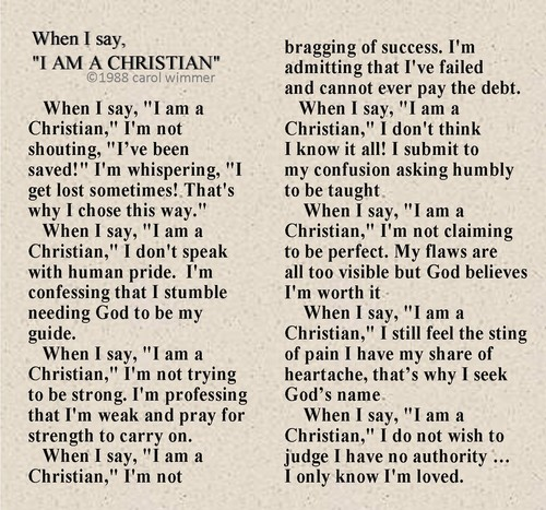 When I say I am a Christian