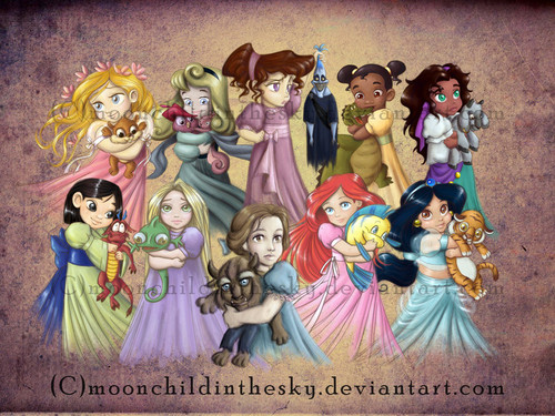 Disney Princess wallpaper with anime called children princesses