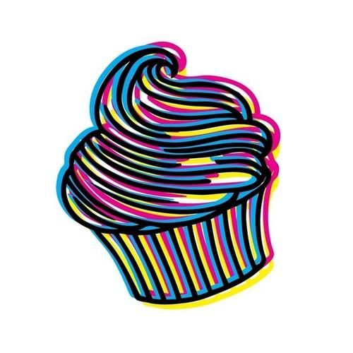 neon कप केक