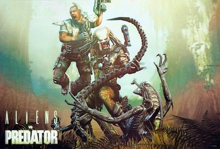 Alien vs Predator with human