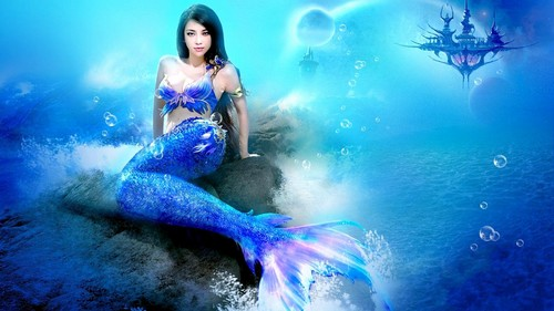 Blue Mermaid - mermaids Wallpaper