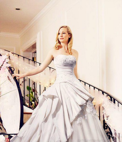 Caroline Forbes wallpaper possibly containing a gown, a bridal gown, and a dinner dress entitled Caroline + wedding dress