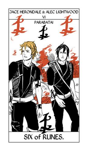 Cassandra Jean's Tarot Cards: Jace & Alec {Six of Runes}.
