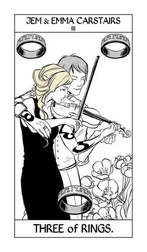 Cassandra Jean's Tarot Cards: Jem & Emma Carstairs {Three of Rings}.