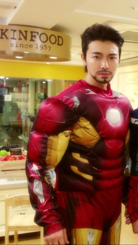 Donghae dressed up as 'Iron Man'