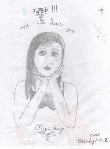 Drawing by 9 год old of Olga Kay