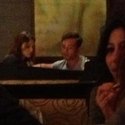Ed dining with a mysterious woman