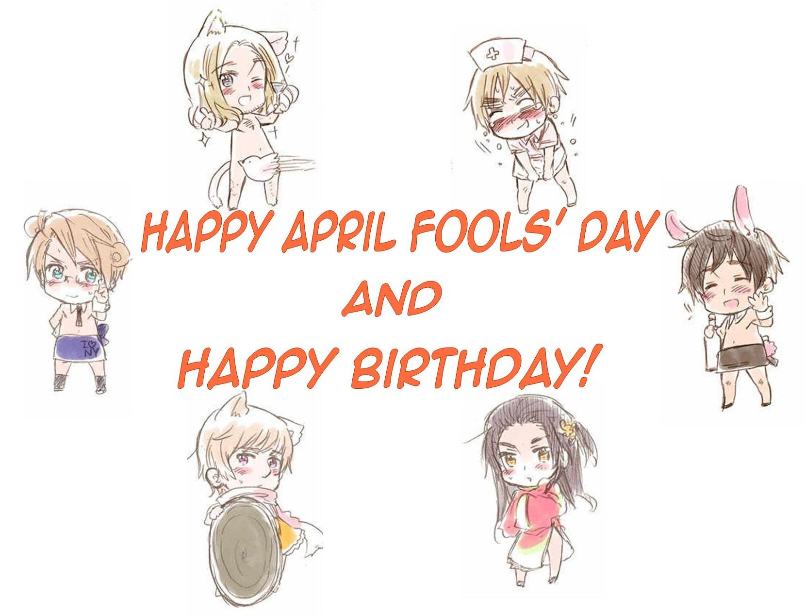 hetalia fondo de pantalla probably containing a sign and anime called happy birthday april fool