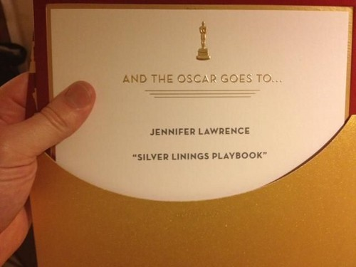 Jennifer's Oscar winning envelope